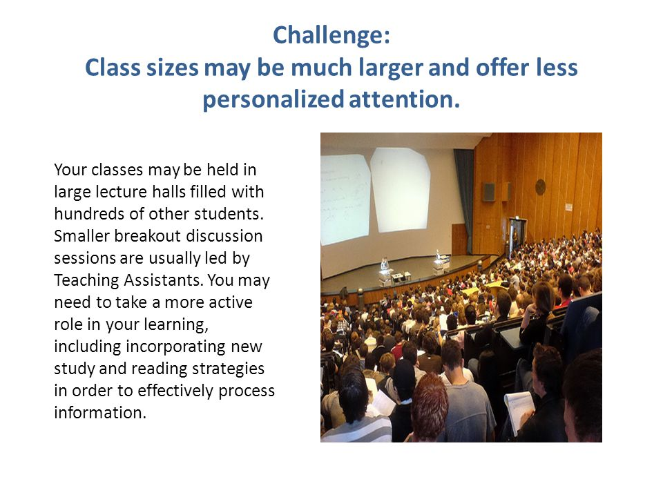 Challenge: Class sizes may be much larger and offer less personalized attention.