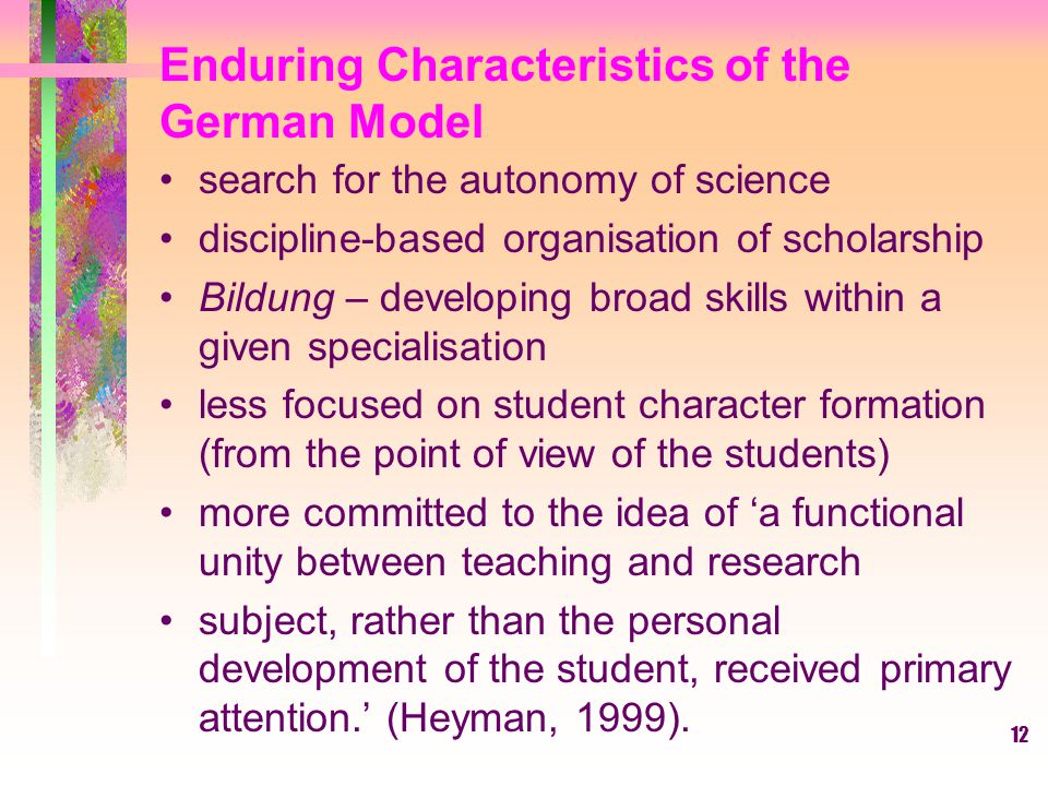 Enduring Characteristics of the German Model
