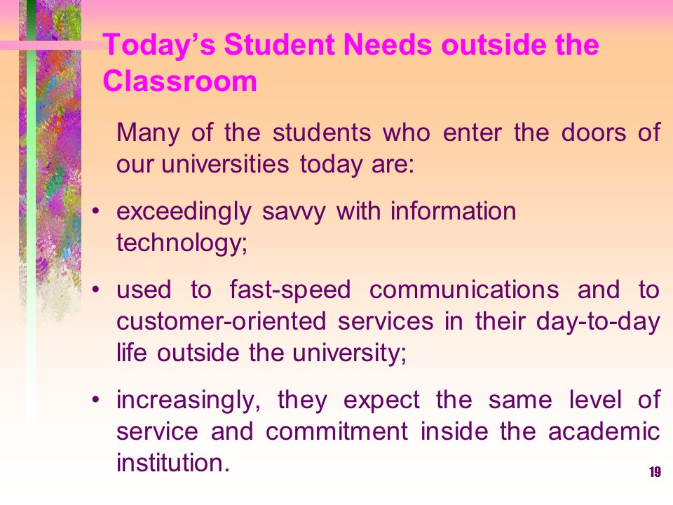 Today's Student Needs outside the Classroom