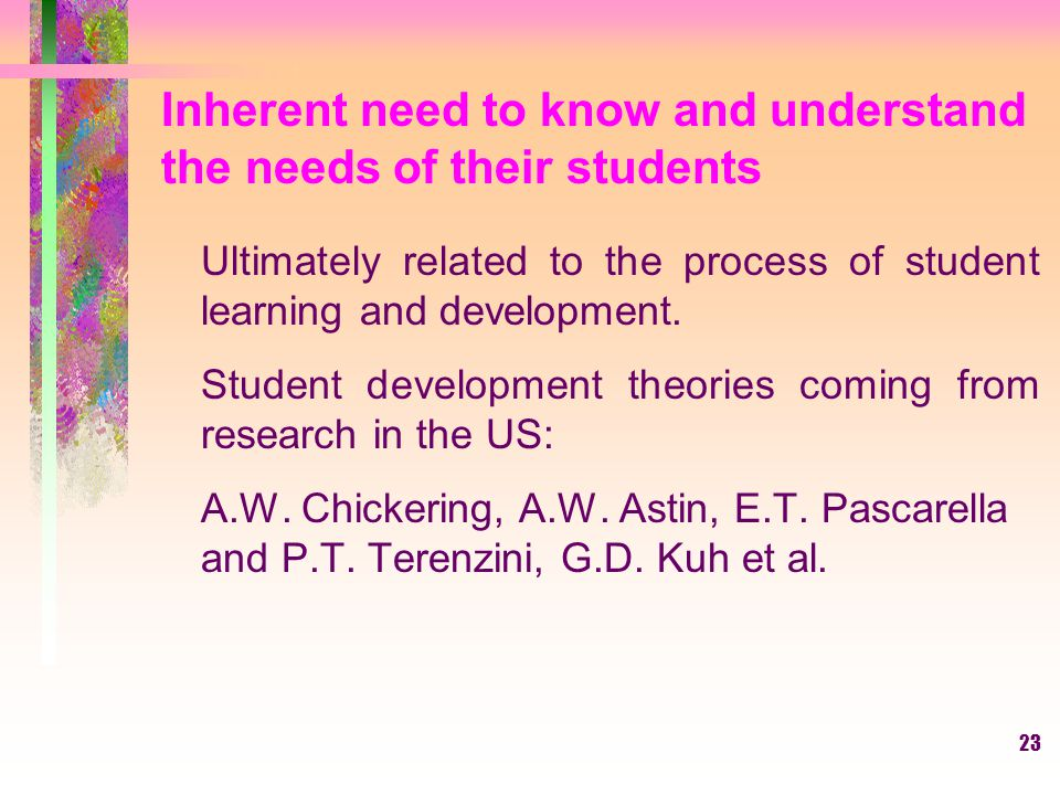 Inherent need to know and understand the needs of their students