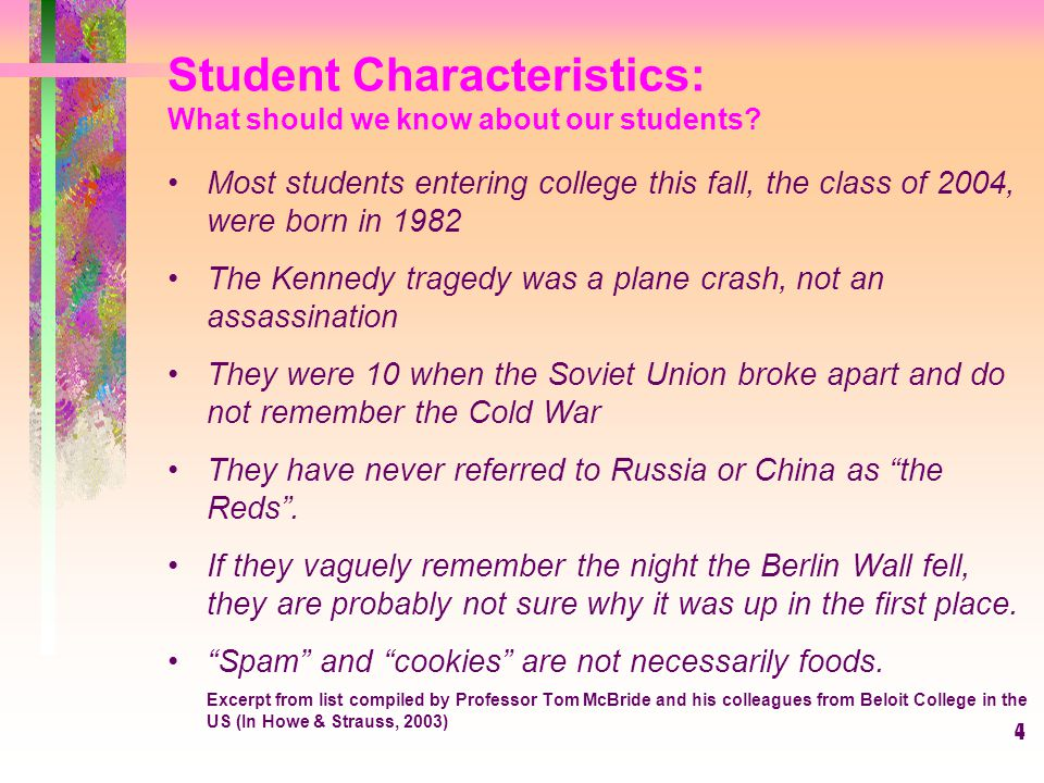 Student Characteristics: What should we know about our students