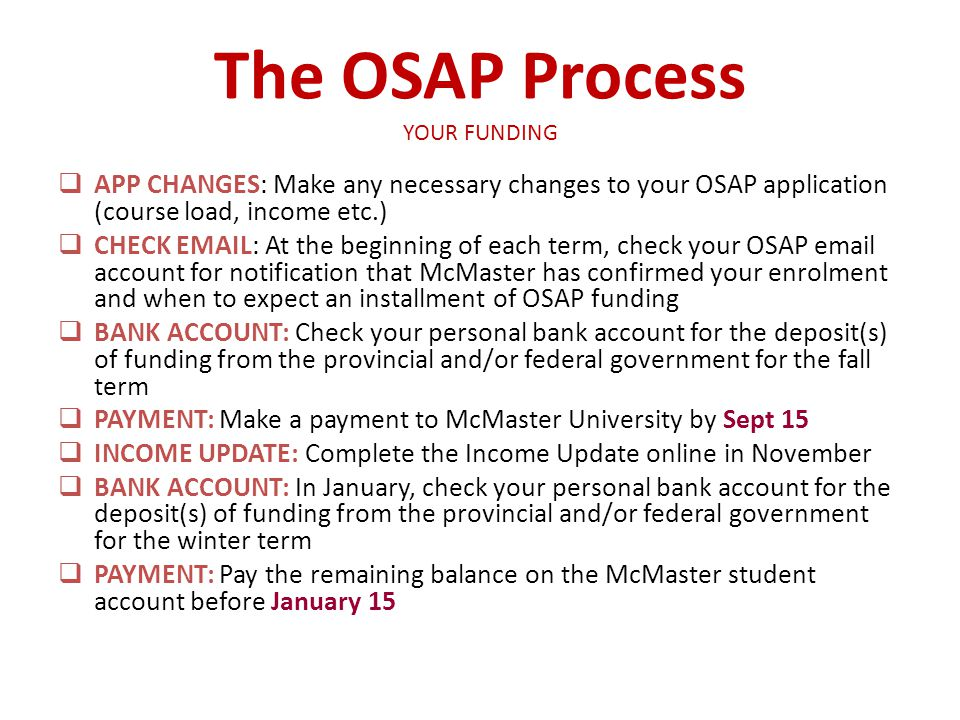 The OSAP Process YOUR FUNDING