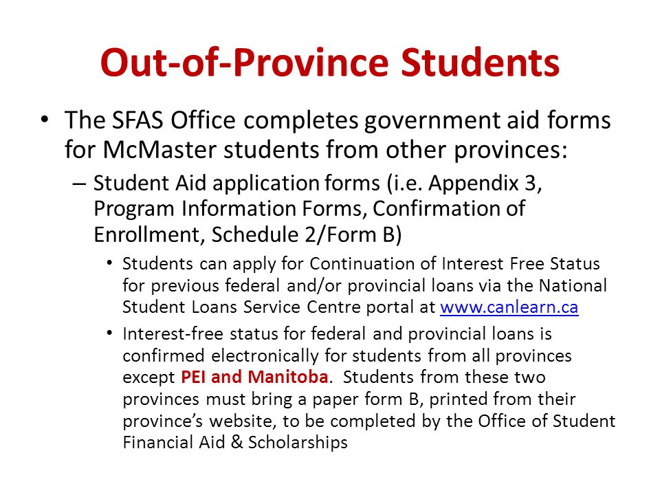 Out-of-Province Students