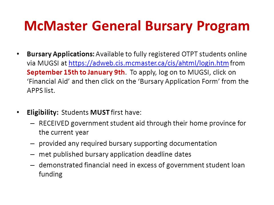 McMaster General Bursary Program