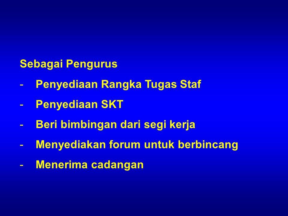 Sebagai Pengurus Penyediaan Rangka Tugas Staf. Penyediaan SKT. Beri bimbingan dari segi kerja. Menyediakan forum untuk berbincang.
