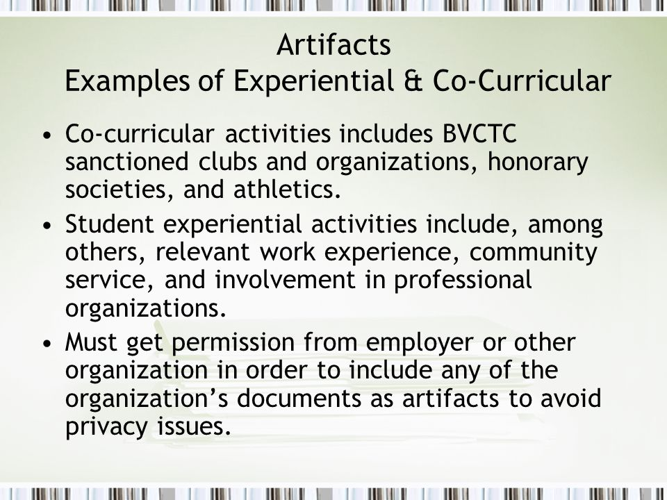 Artifacts Examples of Experiential & Co-Curricular