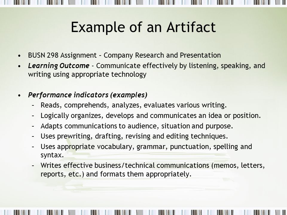Example of an Artifact BUSN 298 Assignment – Company Research and Presentation.