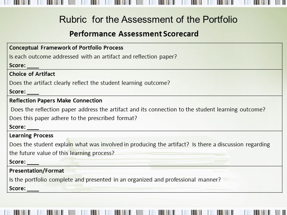 Performance Assessment Scorecard