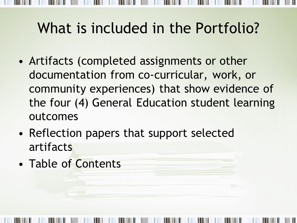 What is included in the Portfolio