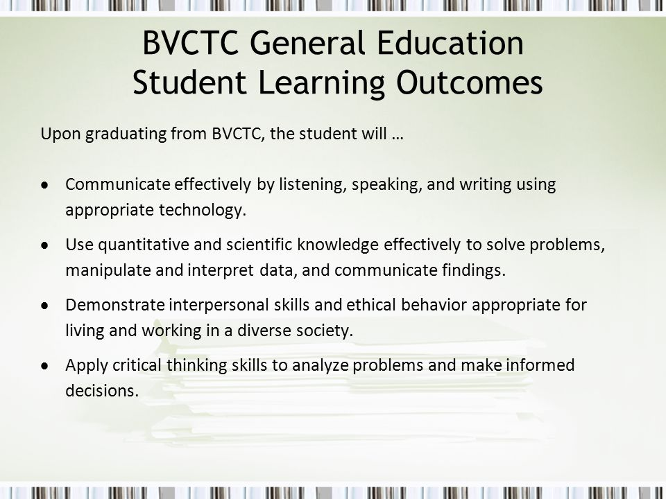 BVCTC General Education Student Learning Outcomes