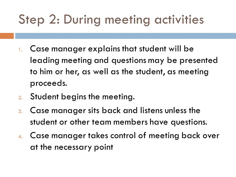 Step 2: During meeting activities