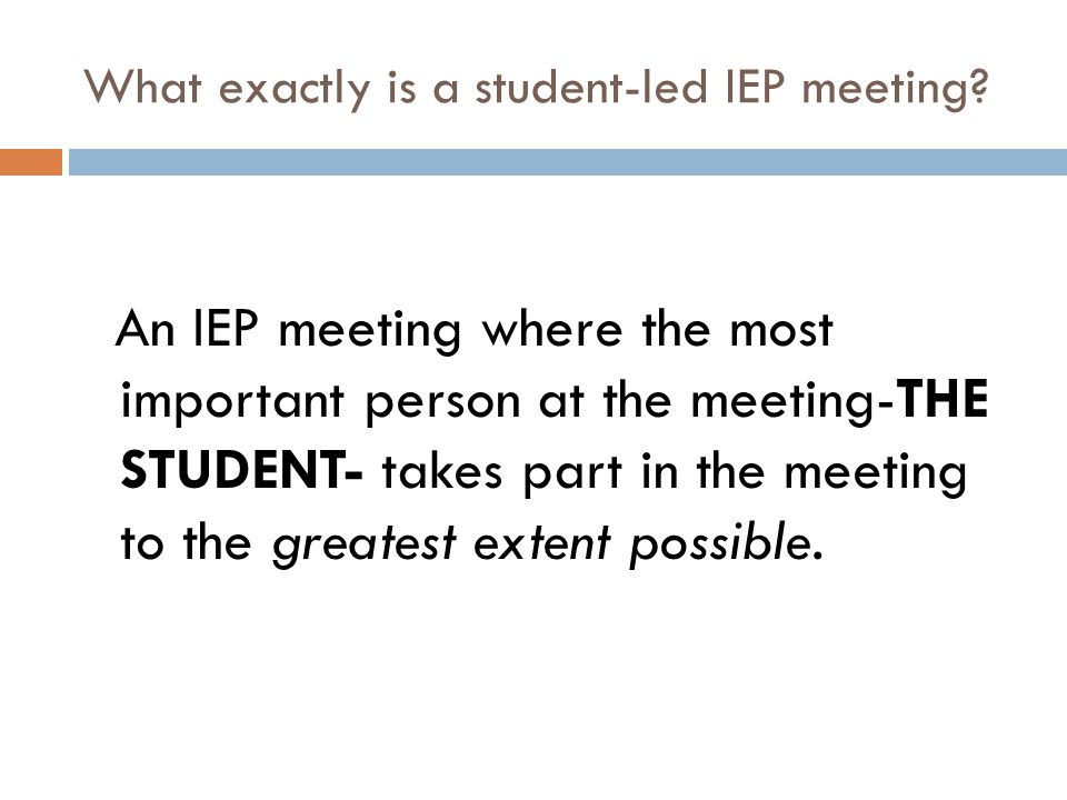 What exactly is a student-led IEP meeting
