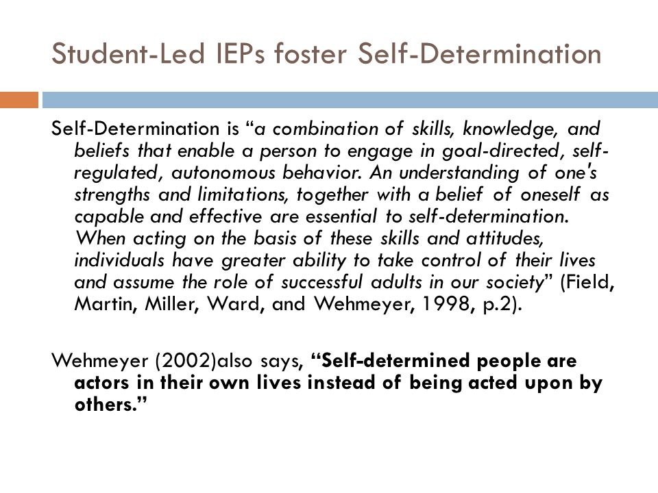 Student-Led IEPs foster Self-Determination
