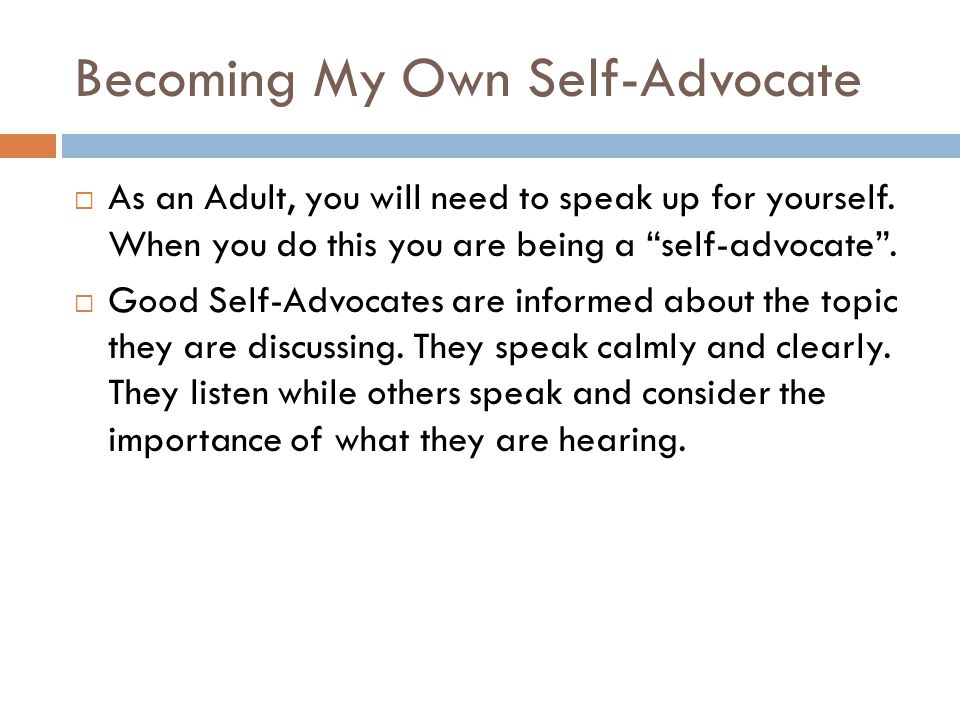 Becoming My Own Self-Advocate