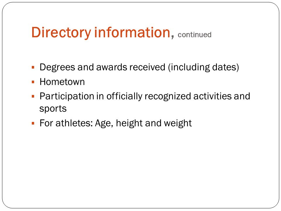 Directory information, continued