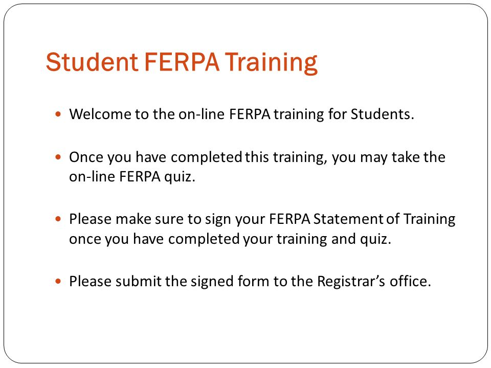Student FERPA Training