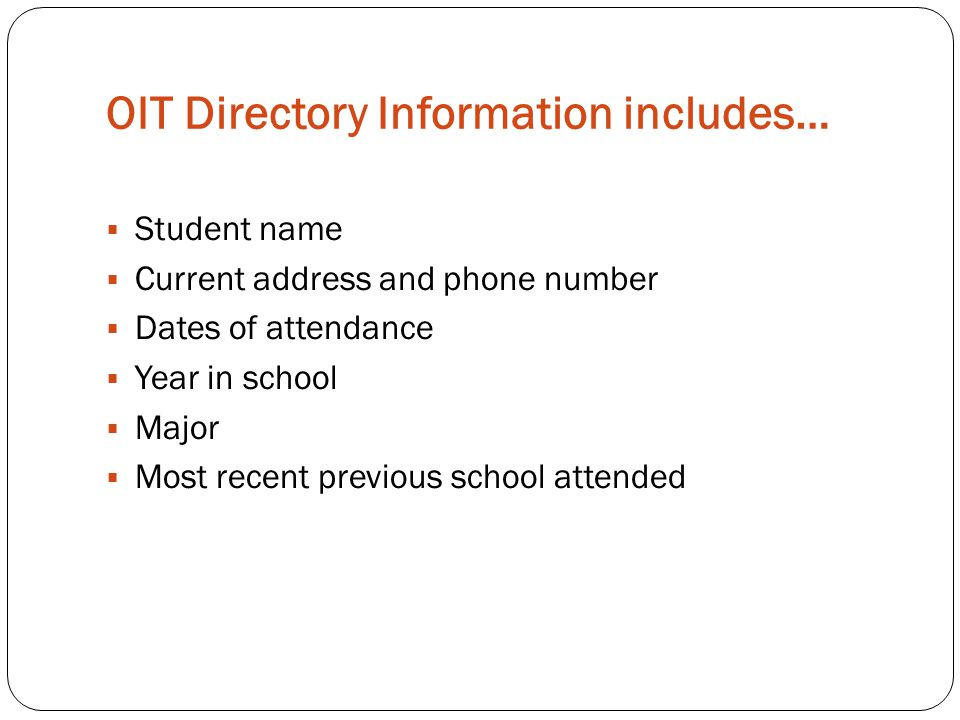 OIT Directory Information includes…