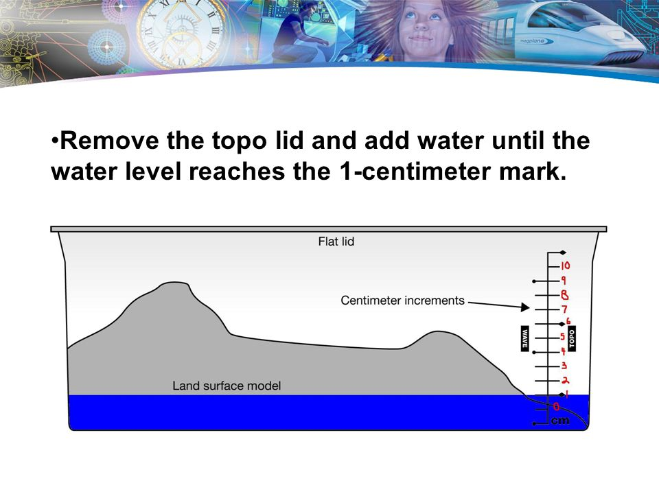 Remove the topo lid and add water until the water level reaches the 1-centimeter mark.