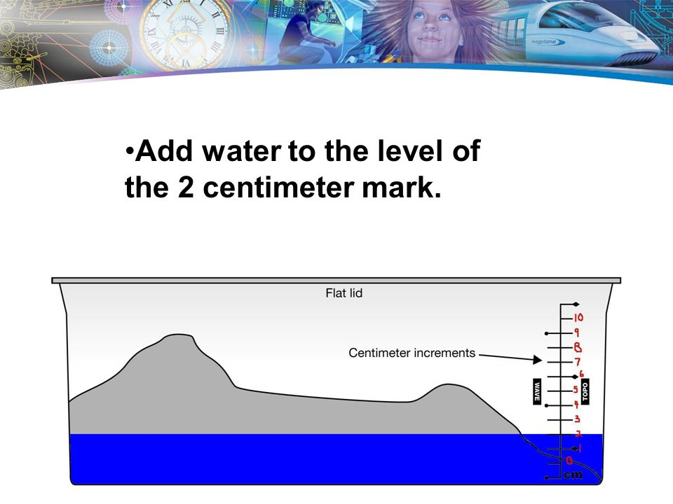Add water to the level of the 2 centimeter mark.