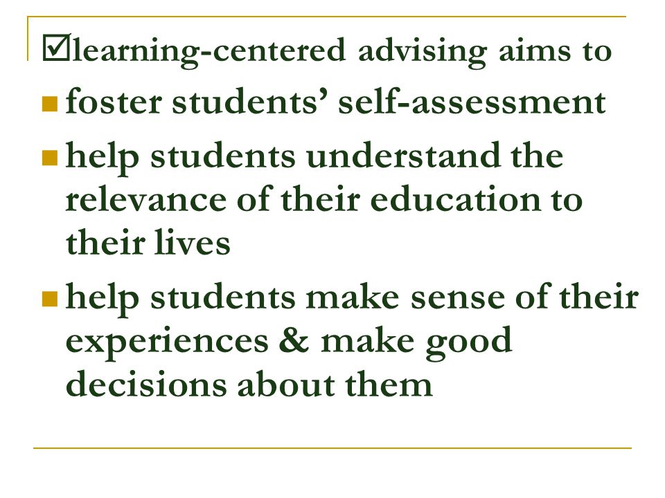 foster students' self-assessment