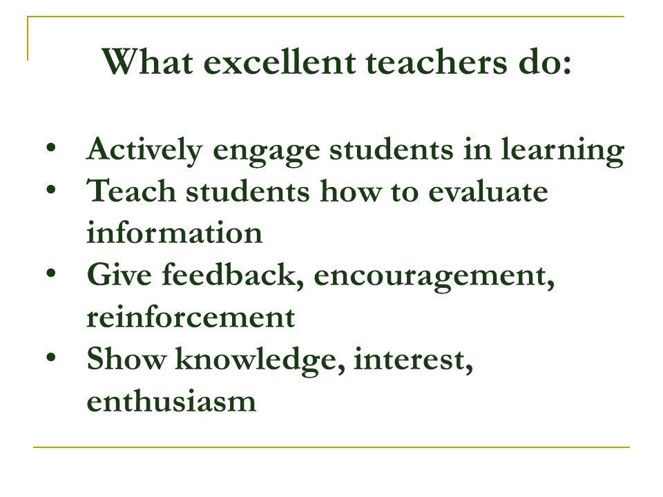 What excellent teachers do: