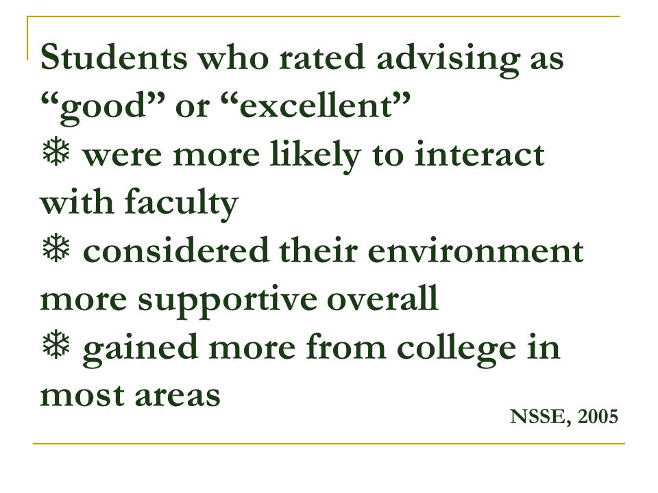 Students who rated advising as good or excellent  were more likely to interact with faculty  considered their environment more supportive overall  gained more from college in most areas