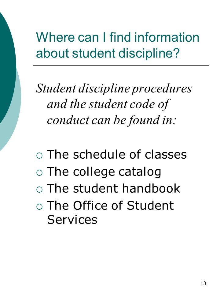 Where can I find information about student discipline