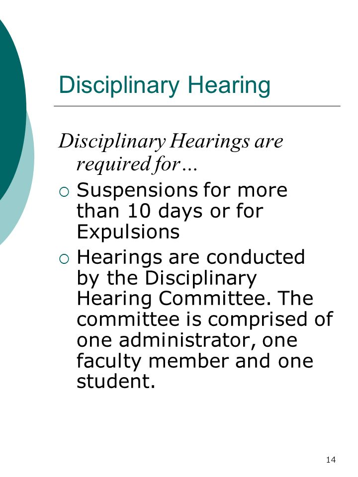 Disciplinary Hearing Disciplinary Hearings are required for…