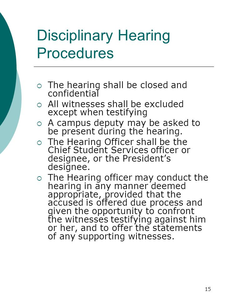 Disciplinary Hearing Procedures