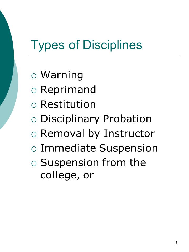 Types of Disciplines Warning Reprimand Restitution