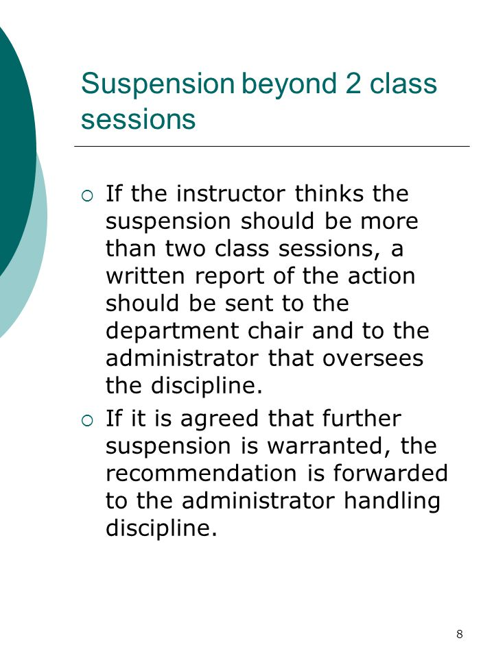 Suspension beyond 2 class sessions