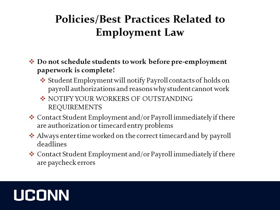 Policies/Best Practices Related to Employment Law