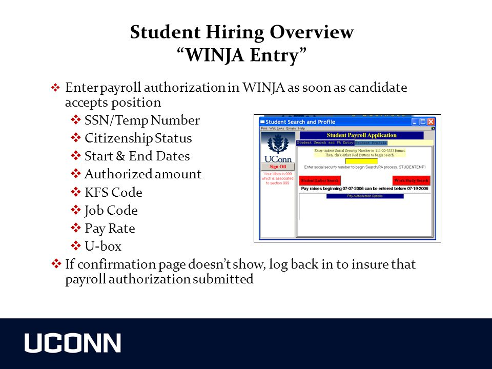 Student Hiring Overview WINJA Entry