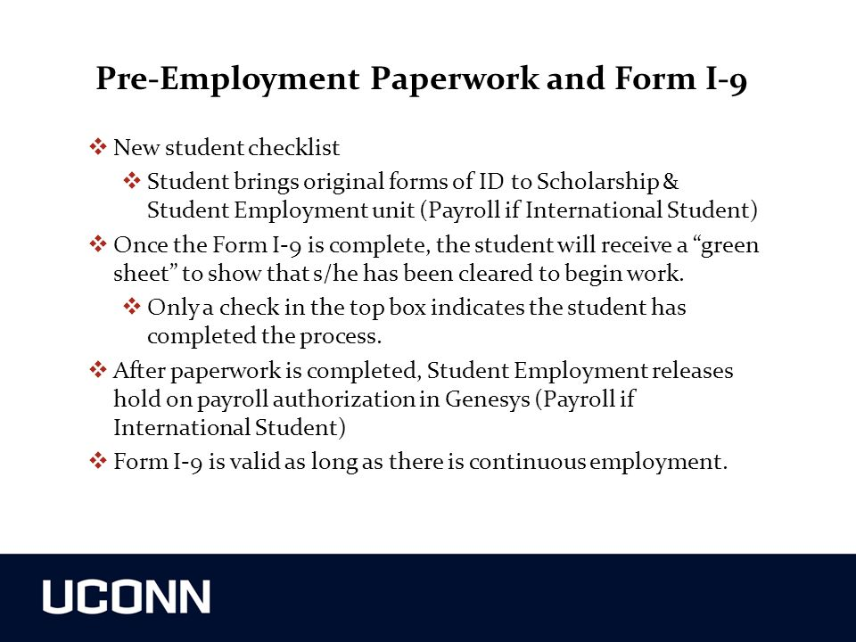 Pre-Employment Paperwork and Form I-9