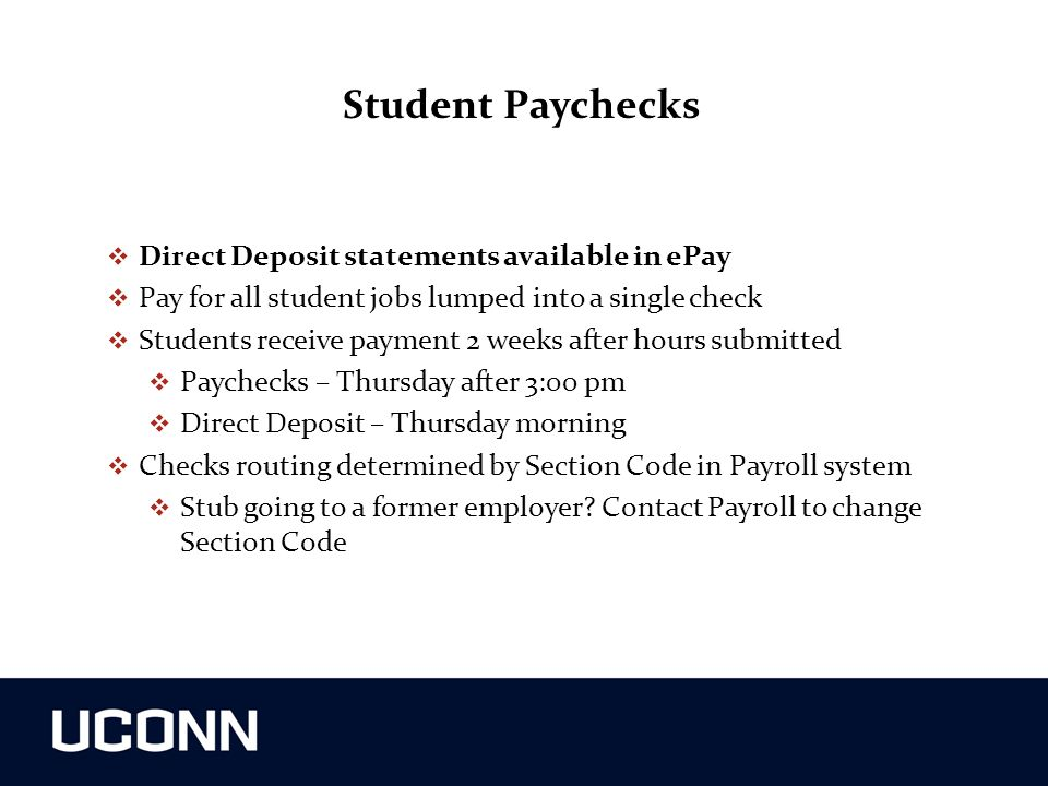 Student Paychecks Direct Deposit statements available in ePay