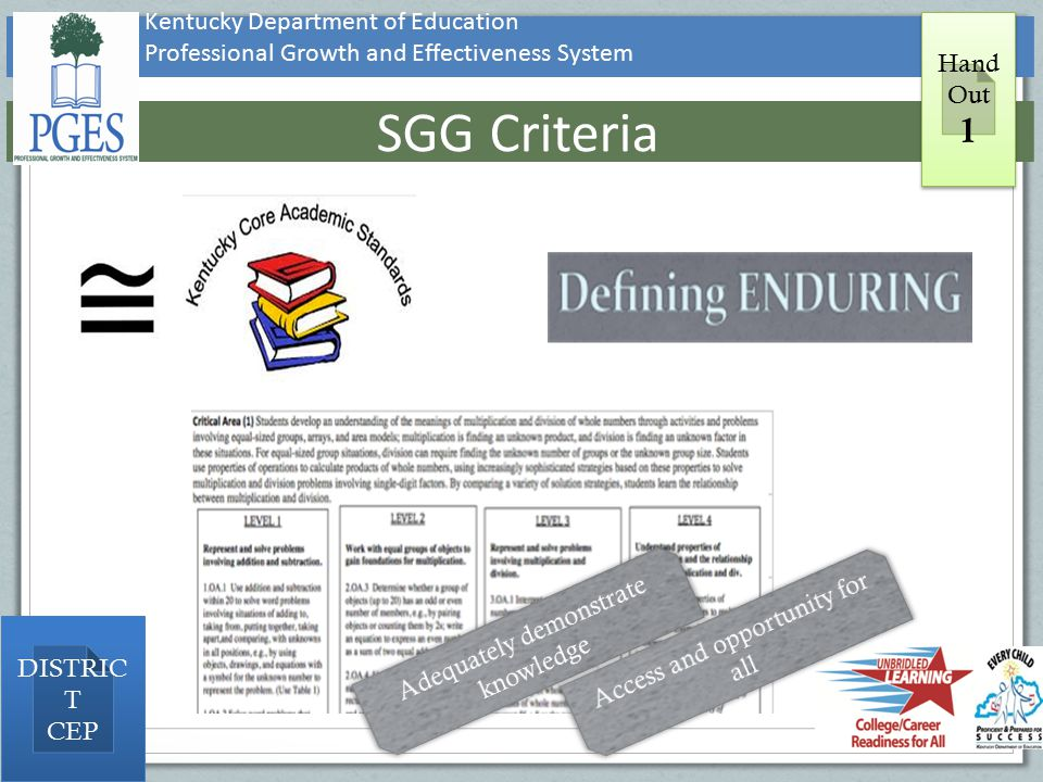 SGG Criteria 1 Kentucky Department of Education