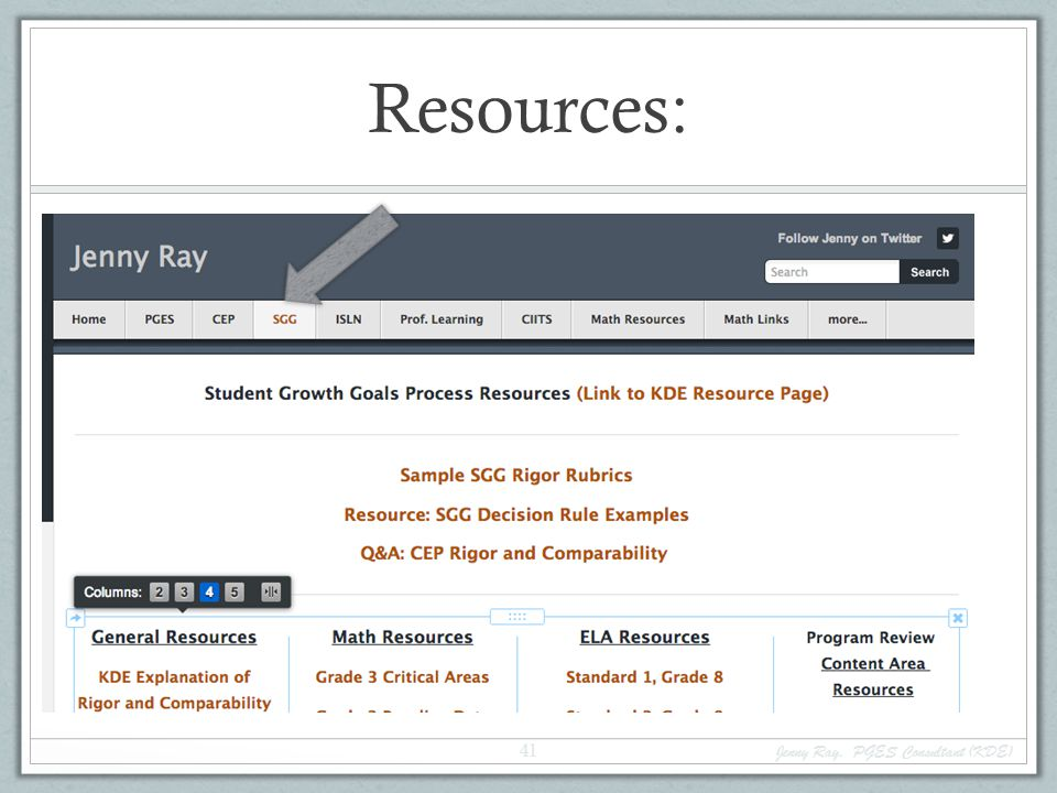 Resources: Jenny Ray, PGES Consultant (KDE)