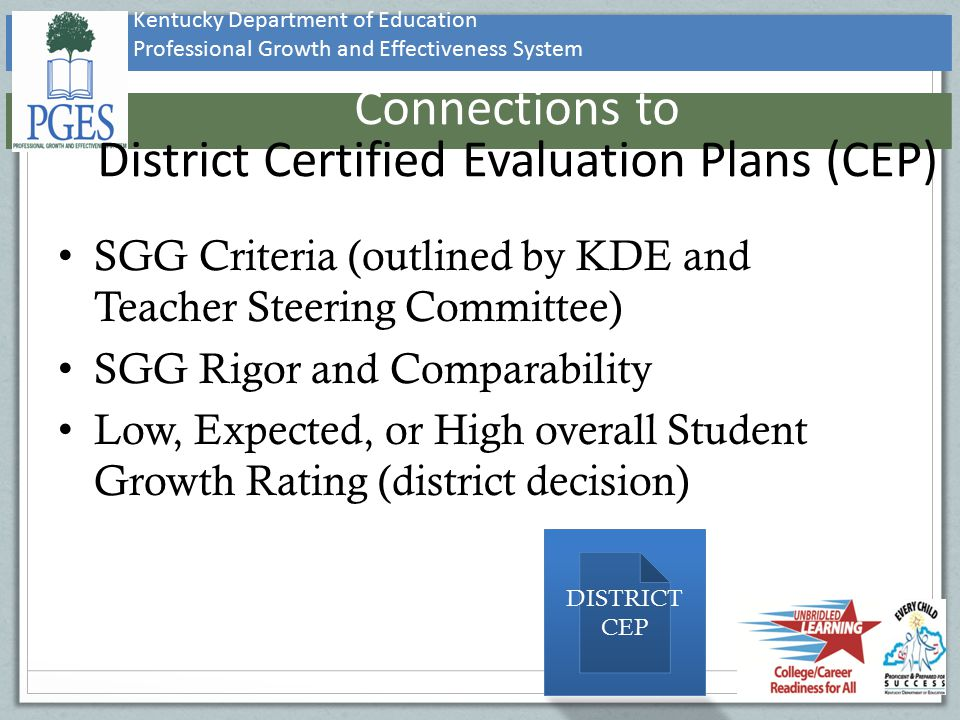 Connections to District Certified Evaluation Plans (CEP)