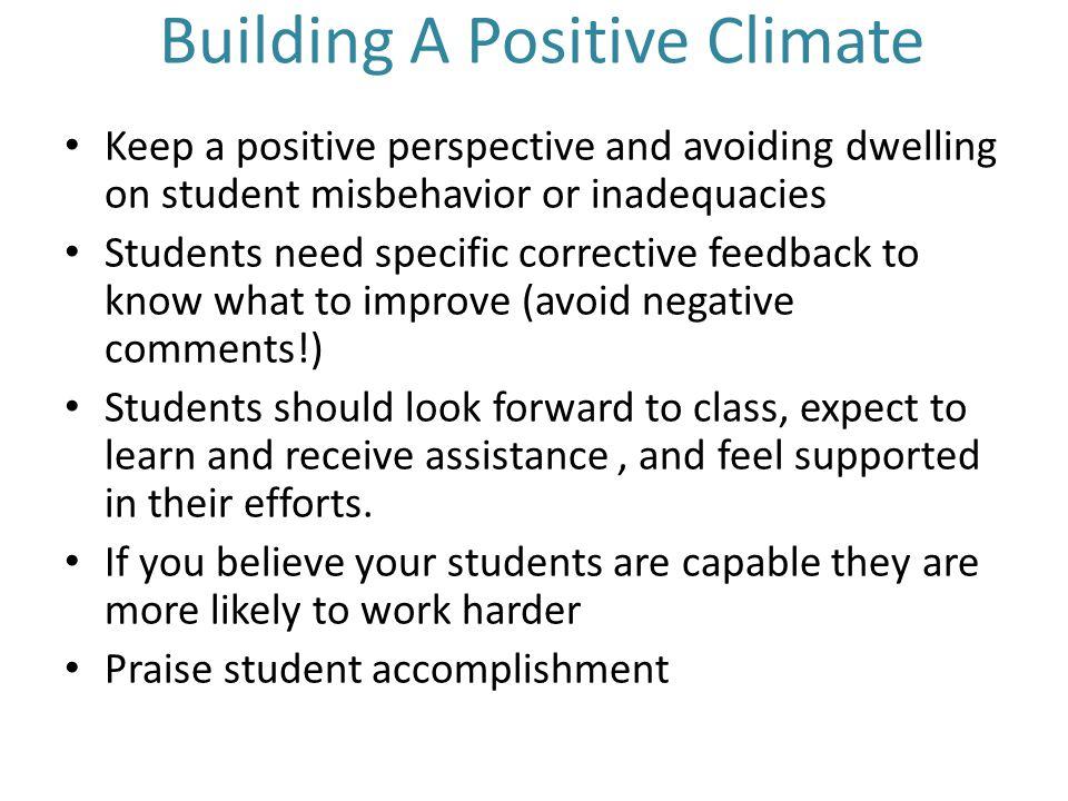 Building A Positive Climate