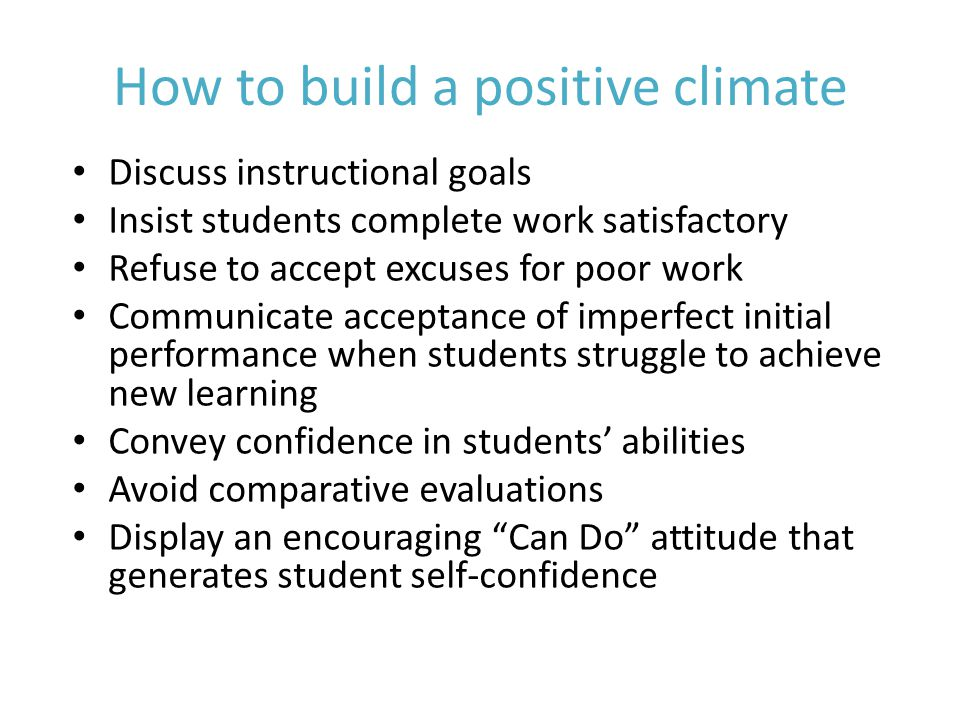 How to build a positive climate