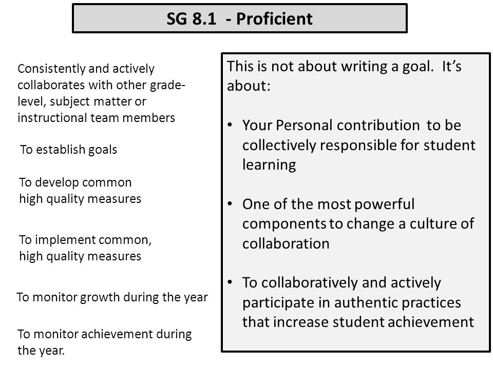 SG 8.1 - Proficient This is not about writing a goal. It's about: