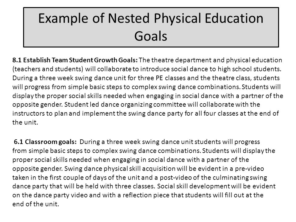 Example of Nested Physical Education Goals