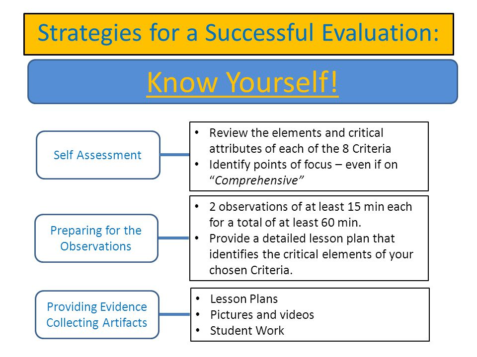 Know Yourself! Strategies for a Successful Evaluation: