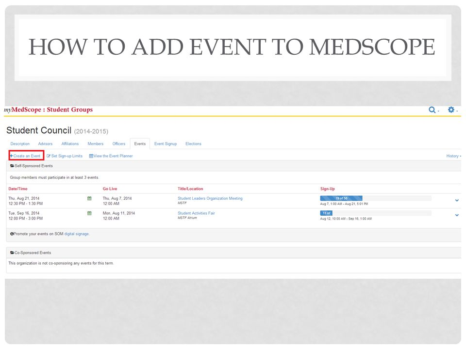 How to Add Event to Medscope