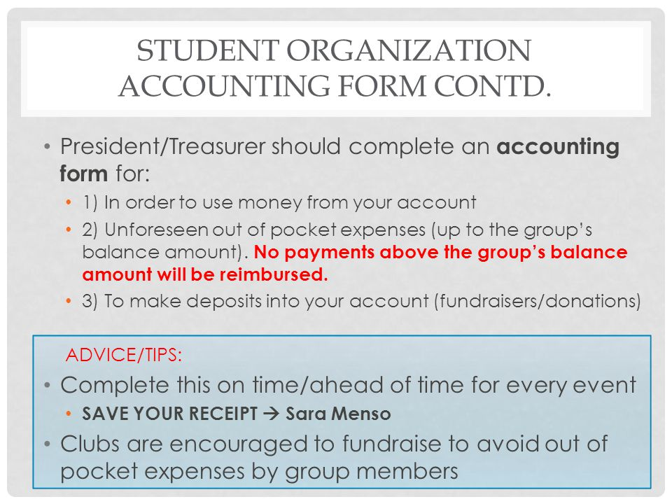 Student Organization Accounting Form Contd.