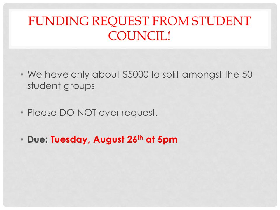 Funding Request From Student Council!