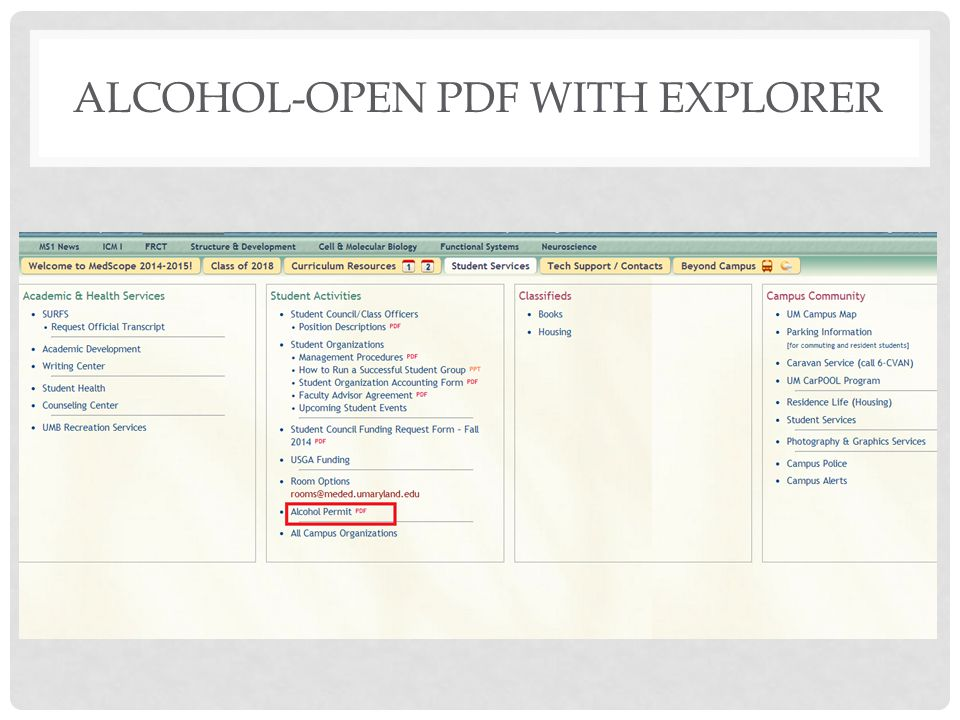 Alcohol-open PDF with Explorer