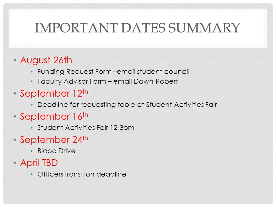 Important Dates Summary