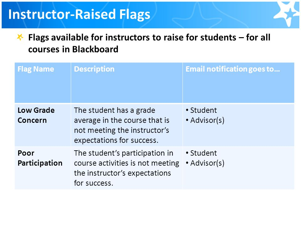 Instructor-Raised Flags
