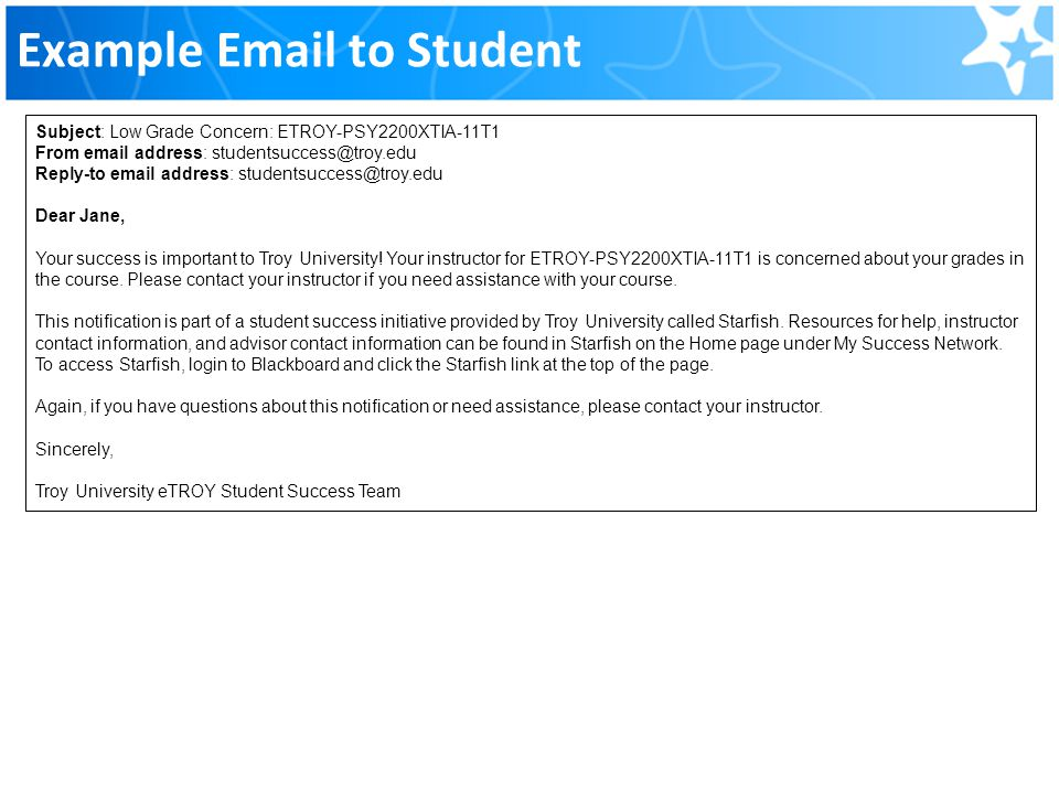 Example Email to Student